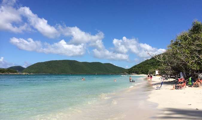 the beach on cinnamon bay, usvi