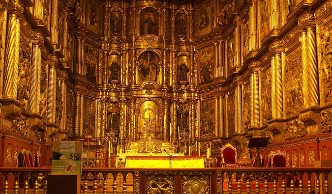 the ornate gilded interior of the San Francisco church in Bogota, Colombia