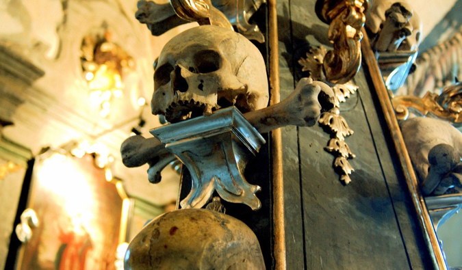 old skulls in the kutna hora bone church