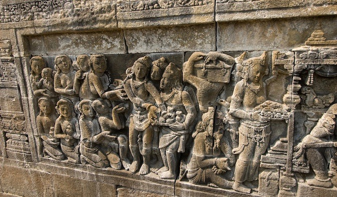 The ancient stone carvings at Borobudur in Indonesia