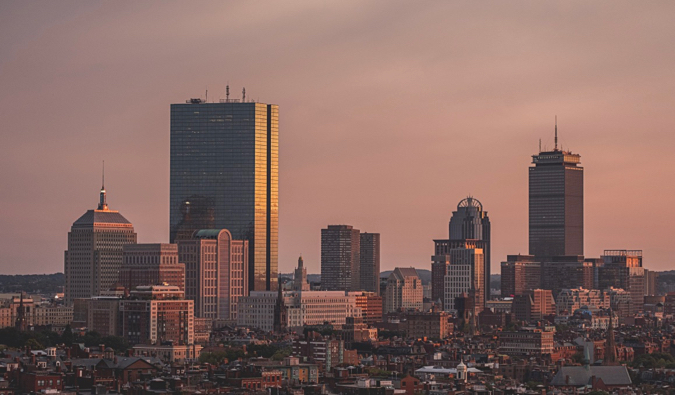 The city of Boston at sunset