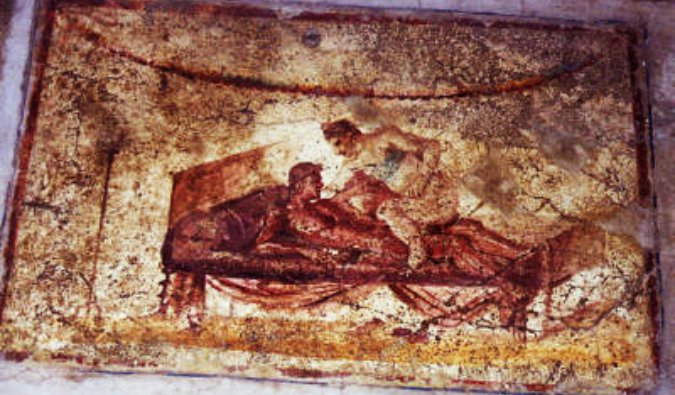 Ancient frescoes from a brothel in Pompeii