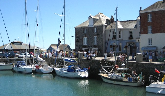 Small boats in harbour in Cornwall, England