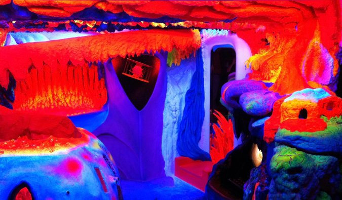 The bright fluorescent art at Electric Ladyland in Amsterdam