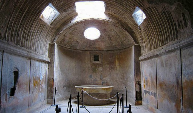 The ruins of the forum baths in Pompeii, Italy