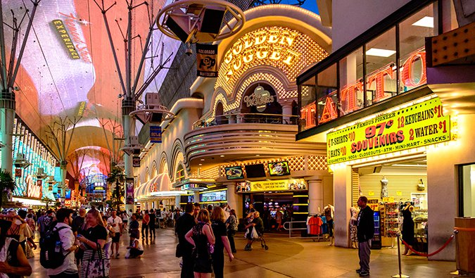 The neon lit atmosphere and ceiling on Freemont Street in Downtown Las Vegas