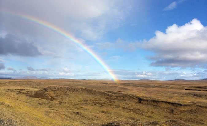 a rainbow in iceland