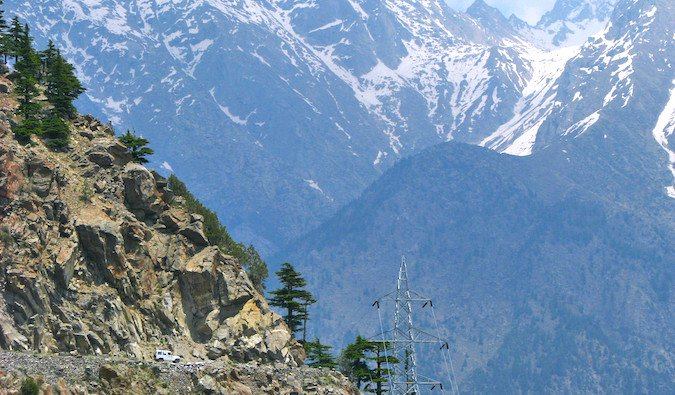 Snow-capped mountains in Kinnaur Valley