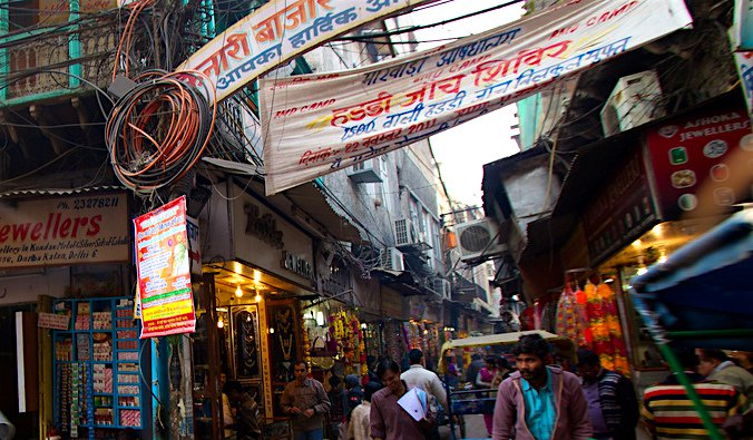 The bustling Chandni Chowk market in India