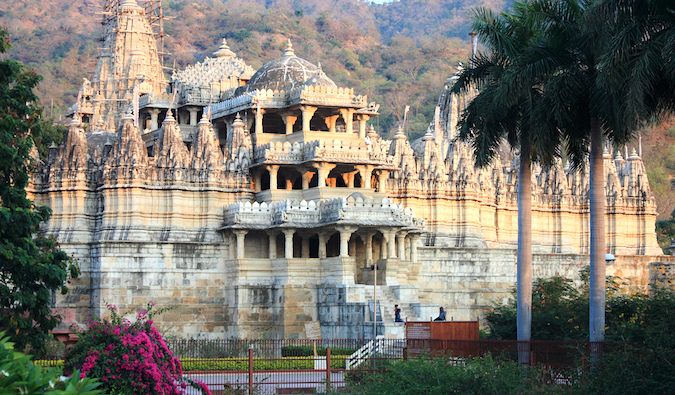 The beautiful Ranakpur Jain Temple surrounded by jungle