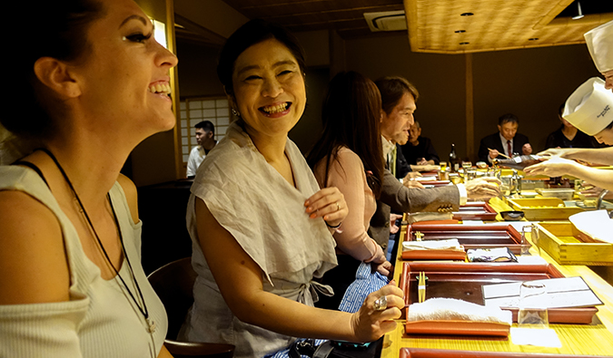 Kristin at a kaiseki meal in Japan