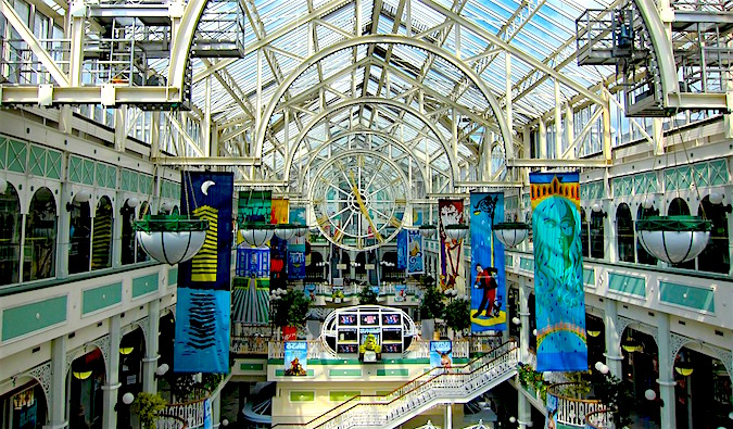 inside a colorful and ornate shopping mall