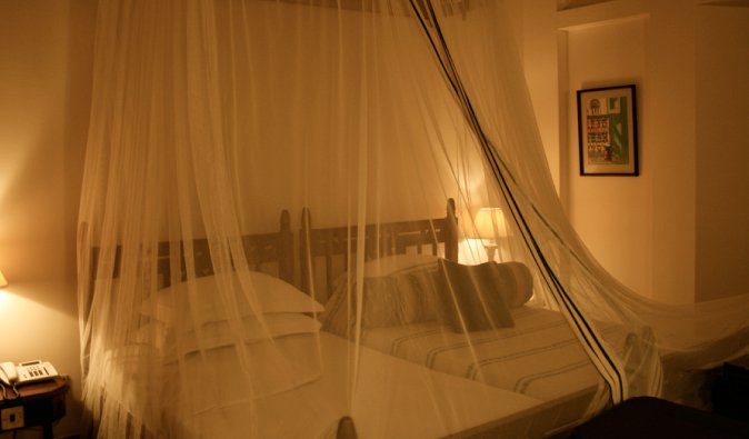 Beds in Africa protected by mosquito nets