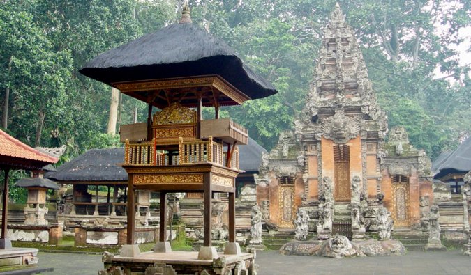 A many old temple buildings of the Monkey Temple in Bali