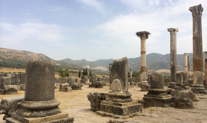 Ancient city of Volubilis ruins in Morocco