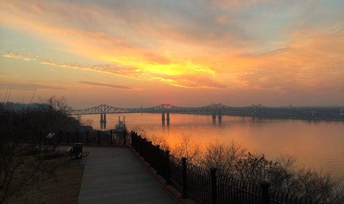 Stunning colorful sunset over Natchez
