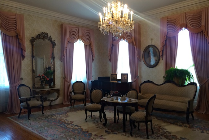Very decorated interior of a grand mansion in Natchez Mississippi in America