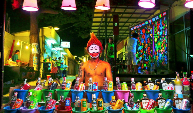 Buckets of alcohol for sale in Thailand