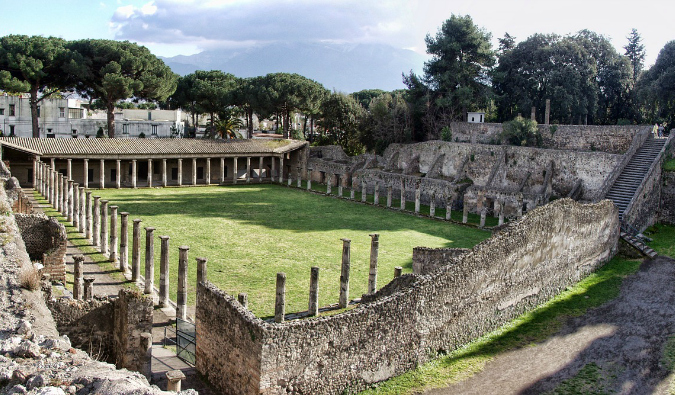 The ancient massive ruins of the Pompeii Palestra on a sunny day