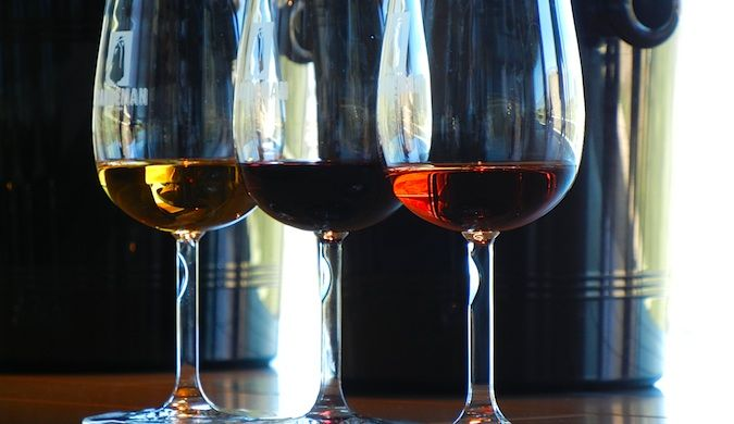 wine glasses of port in porto