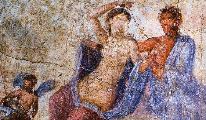 One of the many ancient frescoes that survived in Pompeii, Italy
