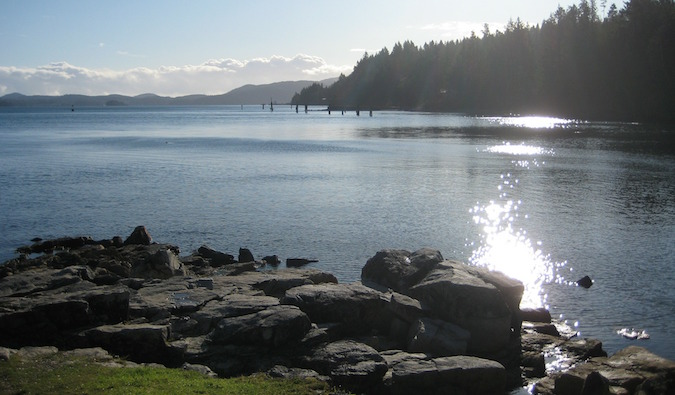 Sun shining on the waters in the gorgeous nature in Vancouver Canada