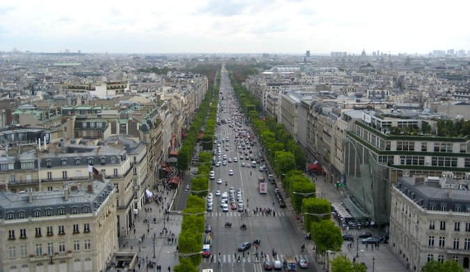A view from above of the gorgeous Champs Elysées, a famous walking street in Paris
