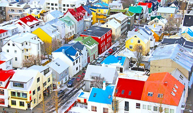 A colorful view of houses in Reykjavík, Iceland