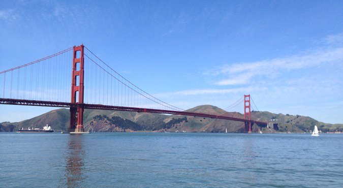 The full The Golden Gate Bridge on a sunny day in San Francisco, Cali