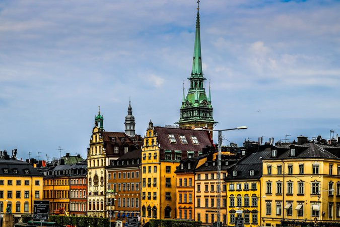 The colorful and historic buildings of Stockholm$0027s Gamla Stan neighborhood