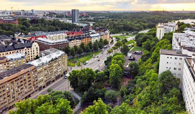Overlooking the Vasagatan area of Stockholm, Sweden at sunset