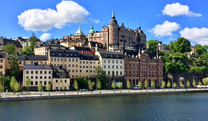 The picturesque historical architecture in Stockholm$0027s Södermalm district on a bright summer day