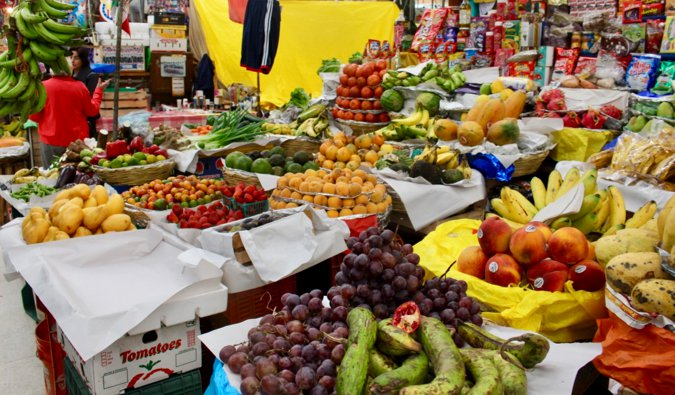 One of the many food markets in Medellín, Colombia