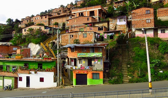 The numerous small houses of Communa 8 in Medellin, Colombia