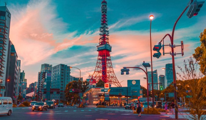 The Tokyo Tower at sunset in Tokyo, Japan