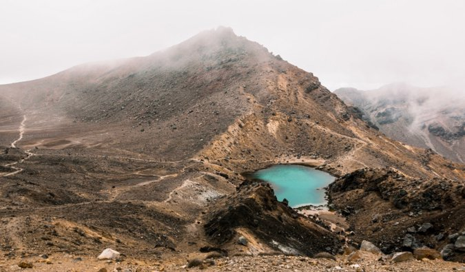 the arid, winding trails of the Tongariro Crrossing in New Zealand