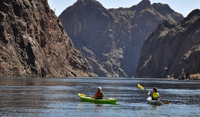 kayakers having fun on Lake Mead