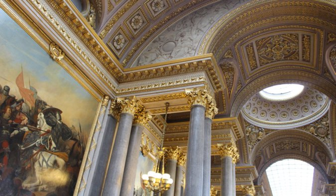 the extravagant art and interior of the Palace of Versailles in France
