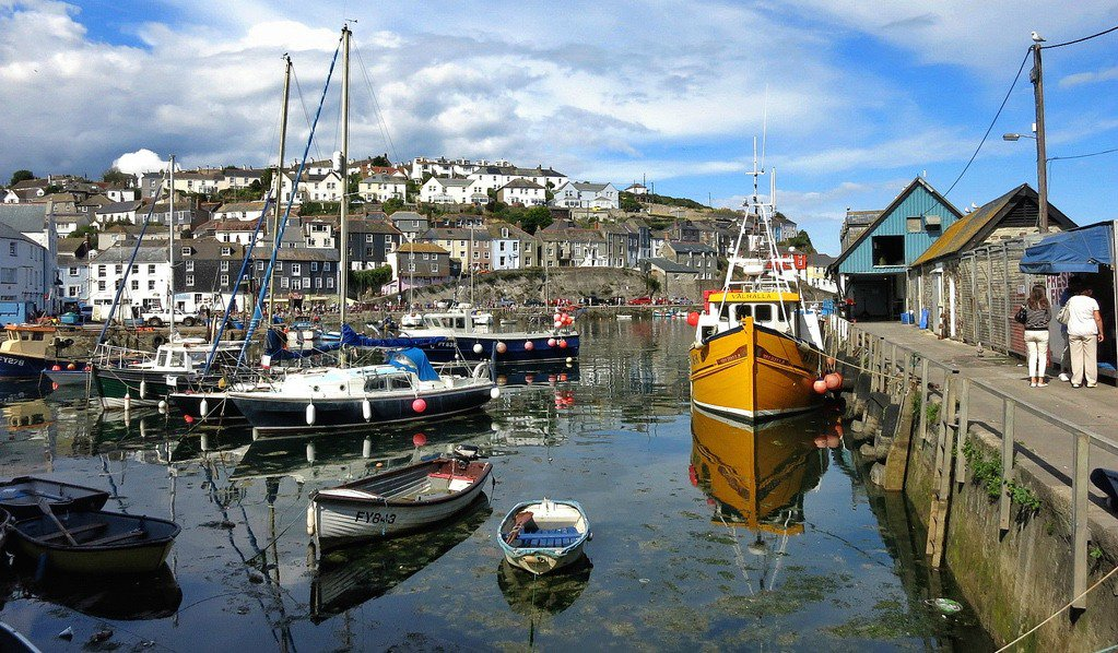 Lots of boats in the Mevagissey Harbour in England