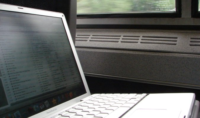 Laptop traveling on a train ride overseas